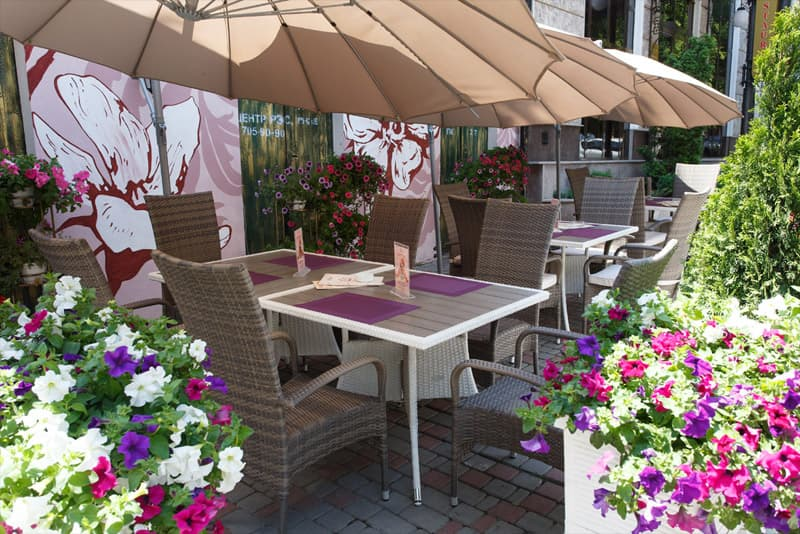 Terrace for summer holidays in the hotel California in the center of Odessa